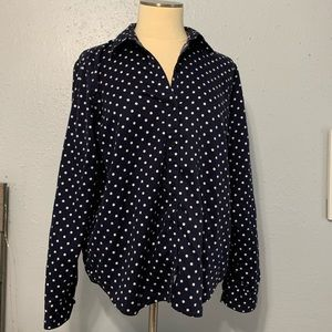 Lauren Ralph Lauren Navy Blue White Dot Shirt XL